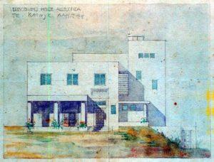De ontwerptekening van J.J.P. Oud uit 1917 voor Villa Allegonda te Katwijk.